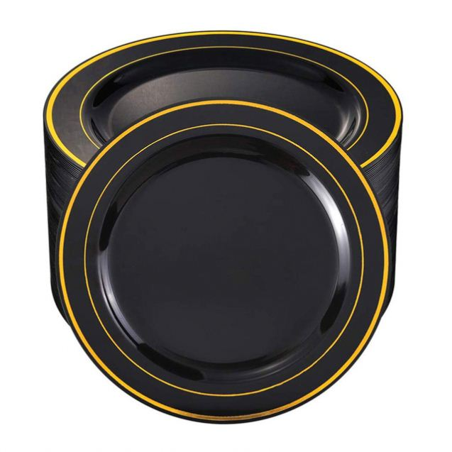 100Pieces Black Plastic Plates with Gold Rim-10.25 inch Disposable Dinner Plates