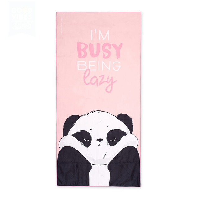 Low MOQ Factory Custom Beachtowel Logo Handuk Pantai Panda Print Cotton Beach Towel
