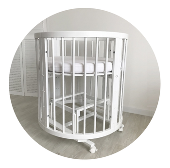 Pendulum Mechanism For The Round Baby Crib 2in1 White Dark Tiffany Color