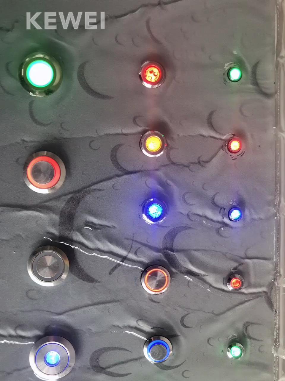 Interrupteur d'alimentation instantané LED imperméable, bouton-poussoir pour porte, forme plate, 12V, 16mm, 19mm, 22mm, 1 pièce