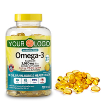 Dietary supplement omega 3 fish oil softgel capsules plus vitamin d3 to support brain and heart health