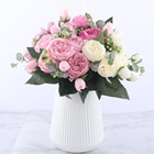 Amazon Hot Sale Rose Pink Silk Peony Bouquet Artificial Flowers Cheap Flowers for Home Wedding Decorative Flowers