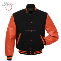HIVJ43 Varsity Baseball With Orange Leather Sleeves Cotton Letterman Baseball Jacket