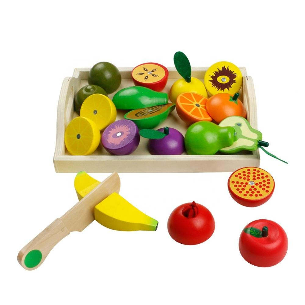 Wooden Role Play Food Set Kitchen Accessories Toys Pretend Food Magnetic Cutting Fruit Blocks with Wooden Plate for Box
