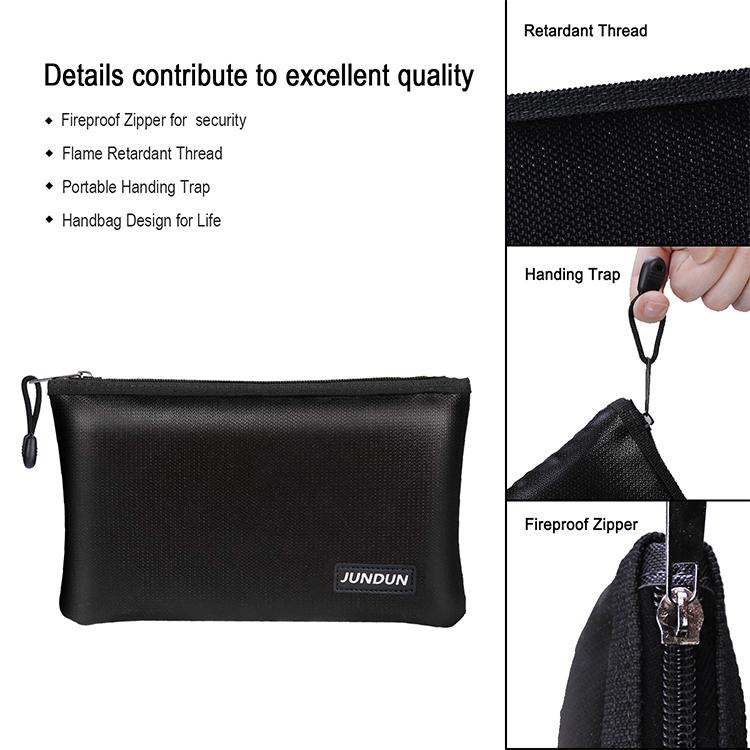 New Type Fiberglass Waterproof Durable Fireproof Bag for Money Document