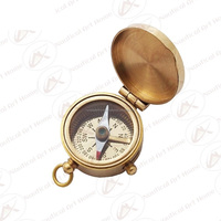 "Miniature Compass 1.25"" with Lid - Nautical Brass Mini Compass for Necklace, Key Ring & Key Chain - Casted Compass"