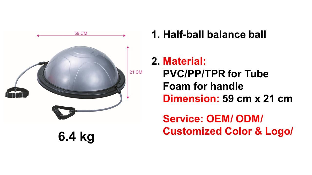 Çevre dostu 16 cm Yükseklik Anti-Göğüs PVC Topu Yarım Denge Kurulu