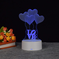 3d optical illusion lamp night light table desk wooden led lamp base love Christmas gift