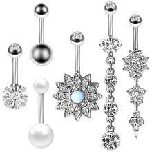 Набор колец для живота с цветочной пуговицей, хирургическое стальное сексуальное кольцо-бабочка для живота, набор для пирсинга пупка, кольц...(Китай)