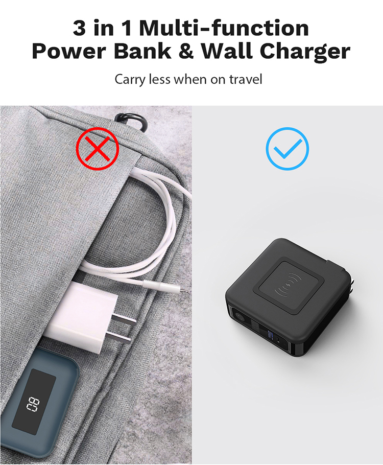 3 in 1 Wireless Charger Smart Power Bank 10000mAh Travel Adapter Multi-function Wall Charger for iPhone 12 and More