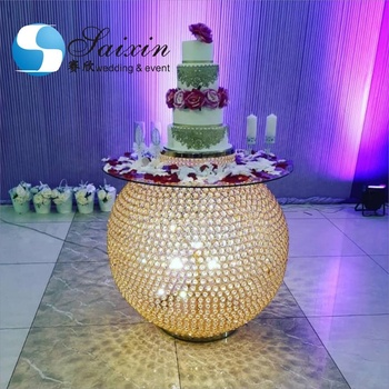 ZT-327G Gorgeous 100cm diameter gold ball lighted crystal cake table