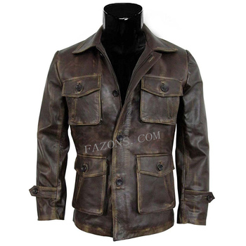 Men Distressed Leather Jacket Supernatural Dean Winchester Season 7 Real Genuine Leather Military Vintage Cargo Pockets Jacket
