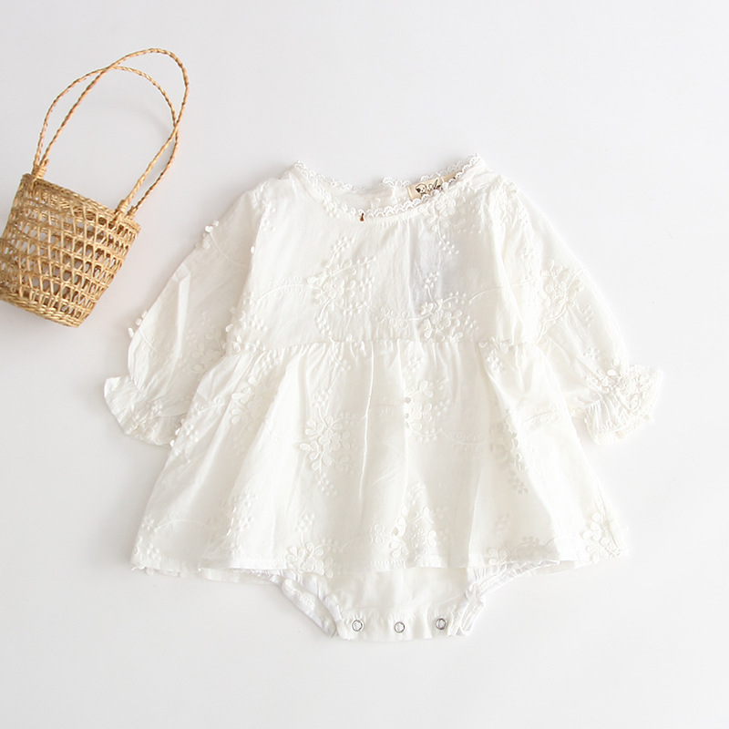 2020 new girl <strong>baby</strong> pure white embroidered long sleeved cotton romper children round collar cute <strong>jumpsuit</strong>