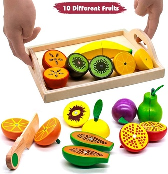 Kids Kitchen Toys Wooden Cutting Set Food Role Play Pretend Play with Wooden Tray Educational Cooking Toy for Kids Girls Boys