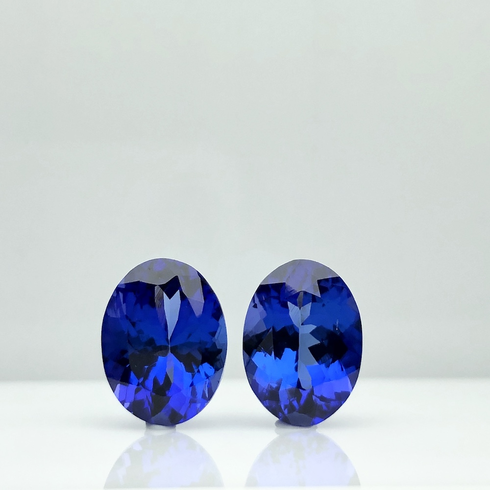 Best Royal Blue Oval Pair 6 cts Top 100% Natural Tanzanite for Platinum Wedding Earring by TAKAT - Rare & Unique Gems