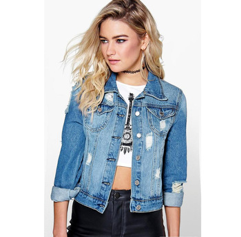 Fashionable Ladies Top Quality Thick Denim Jacket/Wholesale Women's Warm Custom Denim Jacket