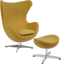 Zitrone Wolle Stoff Egg Chair mit Tilt-Lock Mechanismus und Ottomane