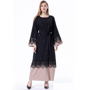 Women Abaya black color with beige delicate embroidery with beautiful lace work design 2020 model kaftan jilbab