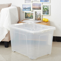 Wholesale Large Capacity Clear Plastic Storage Box with Handle For Clothes and Toys