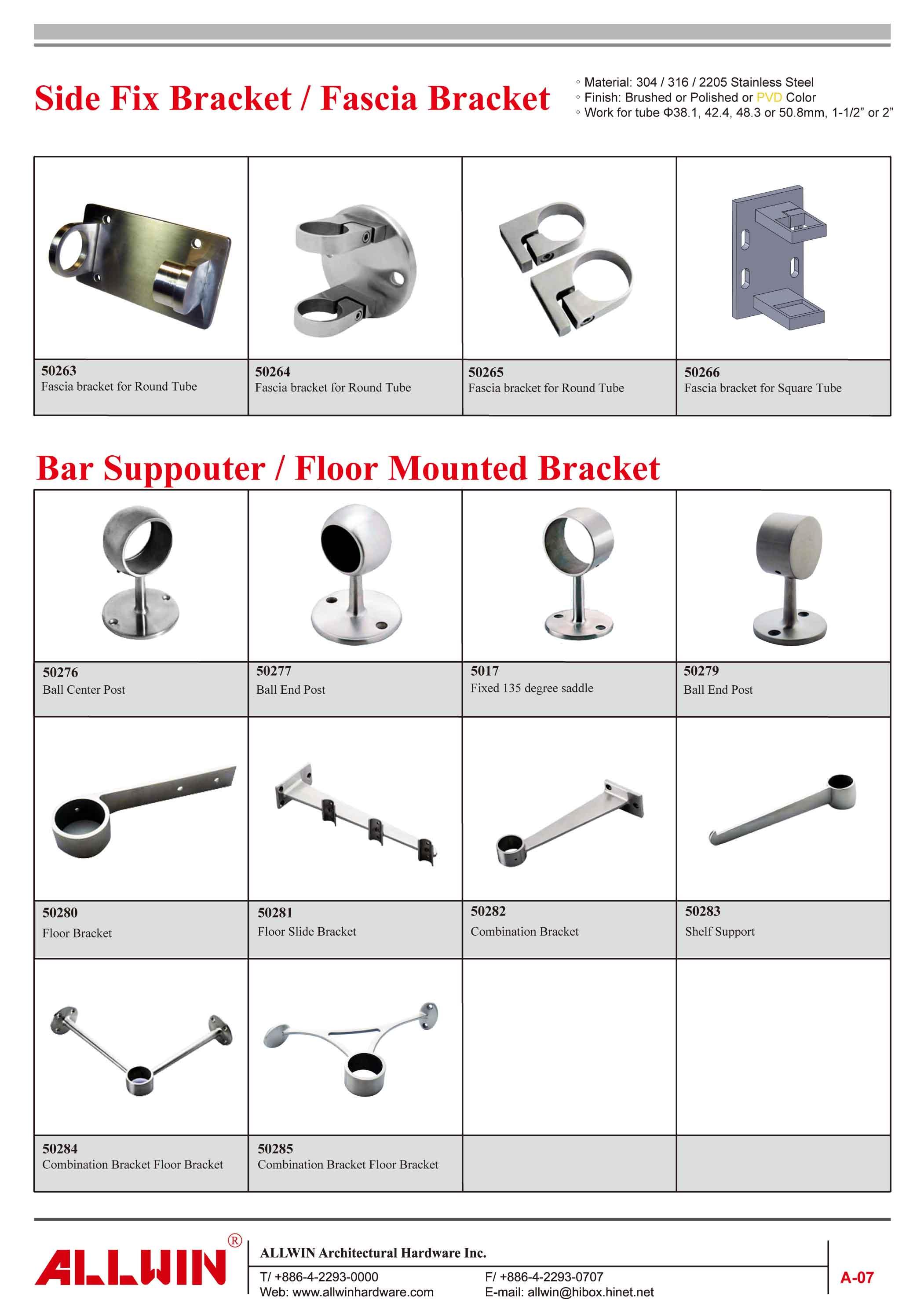 Stainless Steel Ball Center Post Handrail Bracket Step Bar Supporter Connector