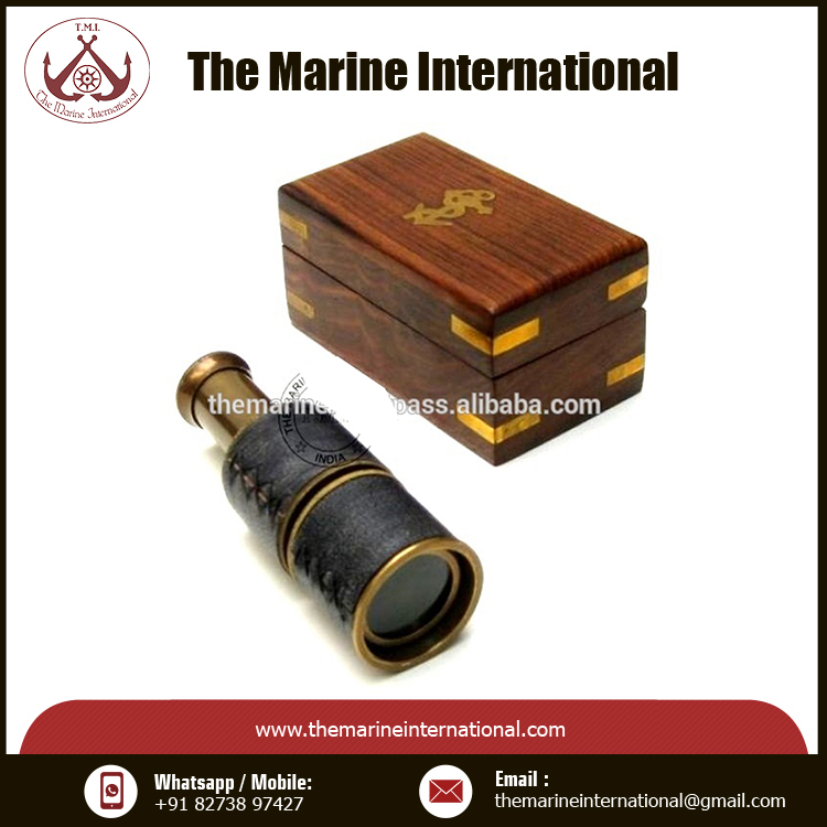 Small Brass Telescope with Pullout Wooden Box Nautical Decor Maritime New