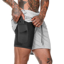 Dubbele effen kleur gym mannen jogger zweet <span class=keywords><strong>shorts</strong></span> groothandel