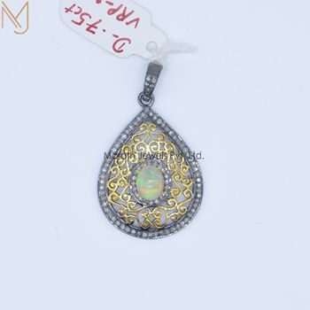 Wholesale Yellow Gold Plated Opal Gemstone Diamond Pendant_x000D_