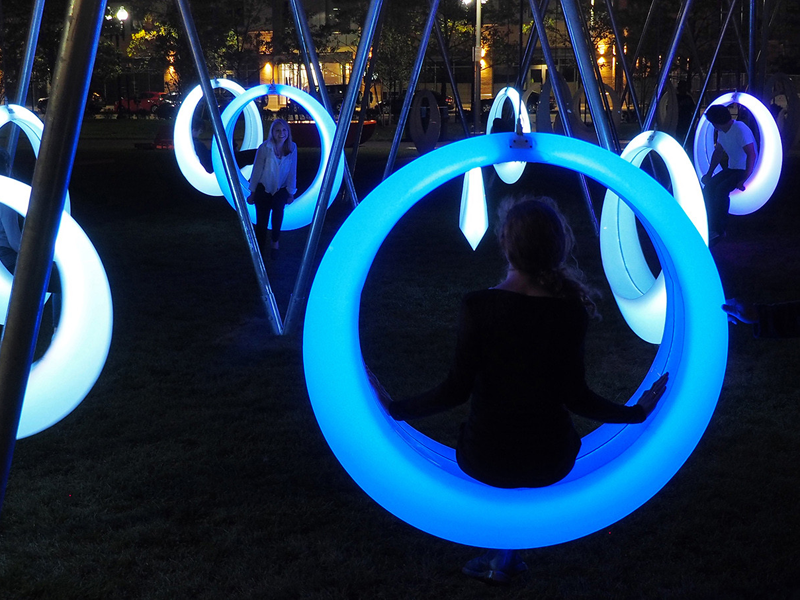 led swing chair