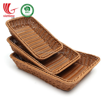 Rectangular rattan trays, storage basket, handmade in Vietnam