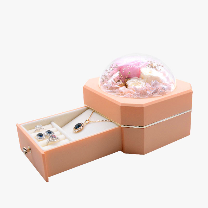 Custom pink surprise gift box storage Jewelry boxes with flower