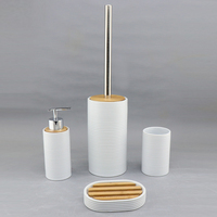 Ceramic Bathroom Accessories Set Luxury Design White, Black and Gray Toilet Brush, Lotion Bottle,Tumbler, Soap Dish