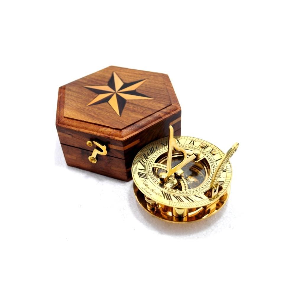 "Nautical Brass 3/"" West London Sundial Compass With Handmade Black Wooden Box"