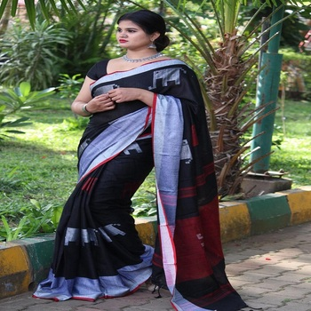 Latest indian linen silk saree / wholesale deswigner party wear linen sarees for women in india