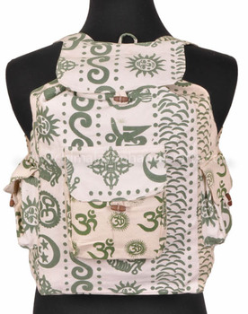 Om Printed Cotton Canvas Backpack BPK 0007
