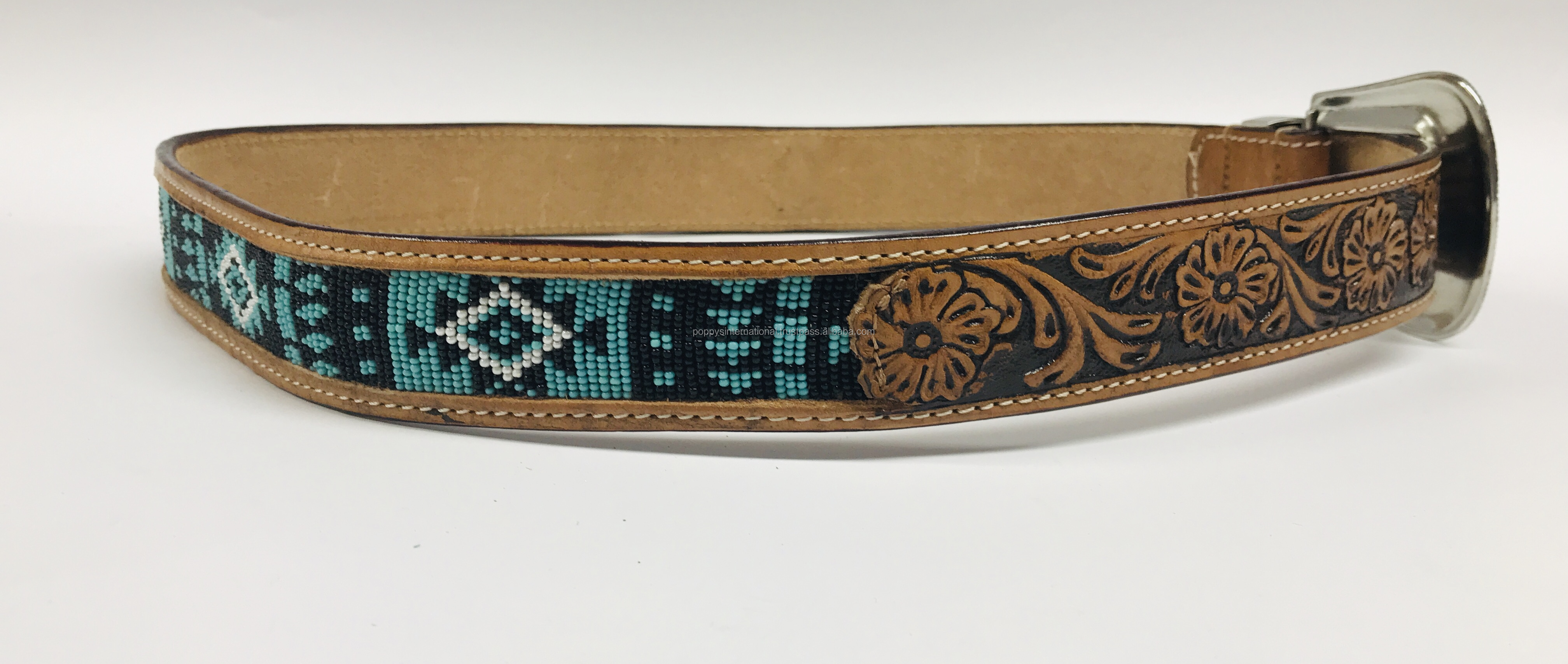 HAND MADE COLOURED BEADED LEATHER BELT WITH HAND CARVED TOOLING