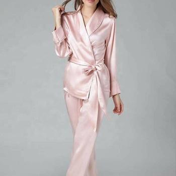 Classic Natural Silk Satin Sleepwear Long Silk Chiffon Pajamas For ...