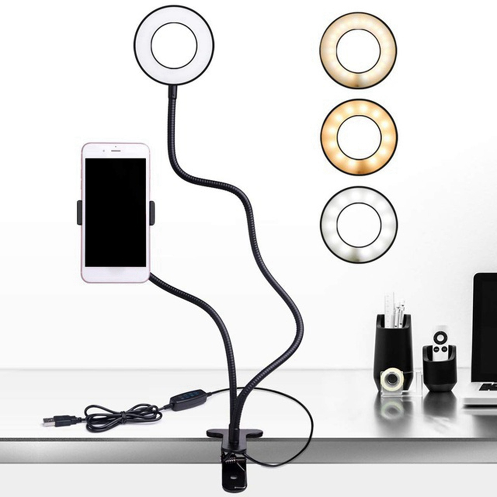LED Desk lam Tripod Stand Live Stream beauty Facial  Make Up Ring Fill Light Dimmable Led Selfie Ring Light Cell Phone Holder