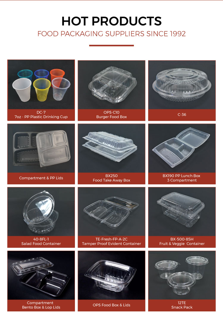 OPS-C38 Transparent Plastic Food Box Wholesale Eco-friendly Disposable Container for Restaurants Bakery