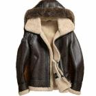 Men's RAF Flight Aviator Fur Shearling Real Sheepskin B-3 Bomber Leather Jacket LFC-BJ-3465
