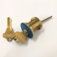 Heavy duty rim cylinder lock 5 pin brass Schlage SC1 keyway for panic devices garage doors deadbolts