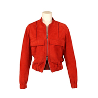 Womens bomber leather jacket with zipper and wide pockets in front Made in Italy