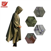 Custom Waterproof Hooded Reusable Rain Poncho PVC Rain Coat