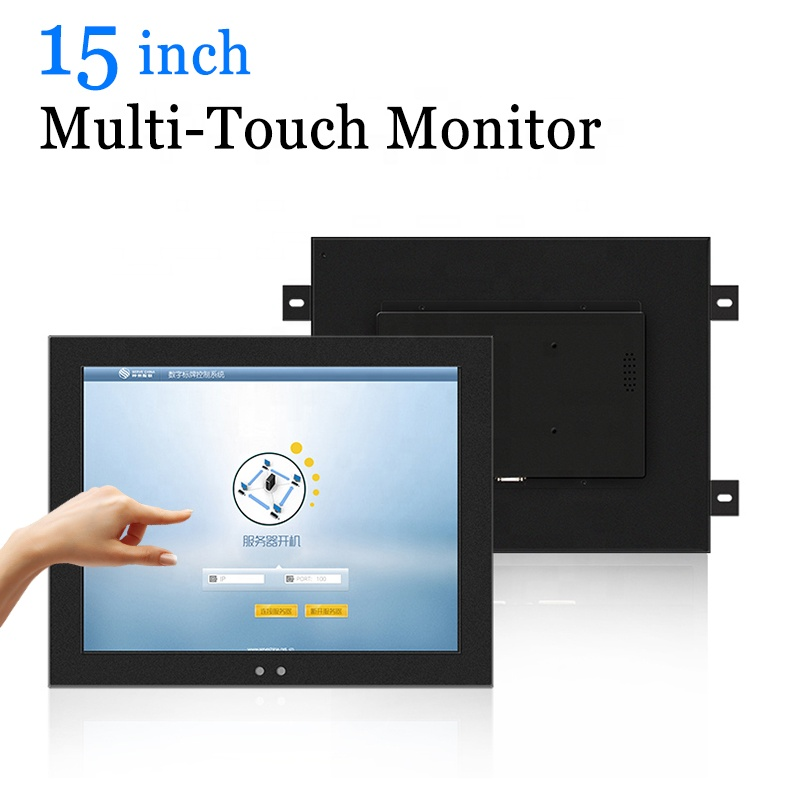 15 polegadas Tapeçaria Capacitiva Multi Touch Monitor Industrial USB Touch Screen Monitor LCD com VGA HDMI DVI AV TV saída