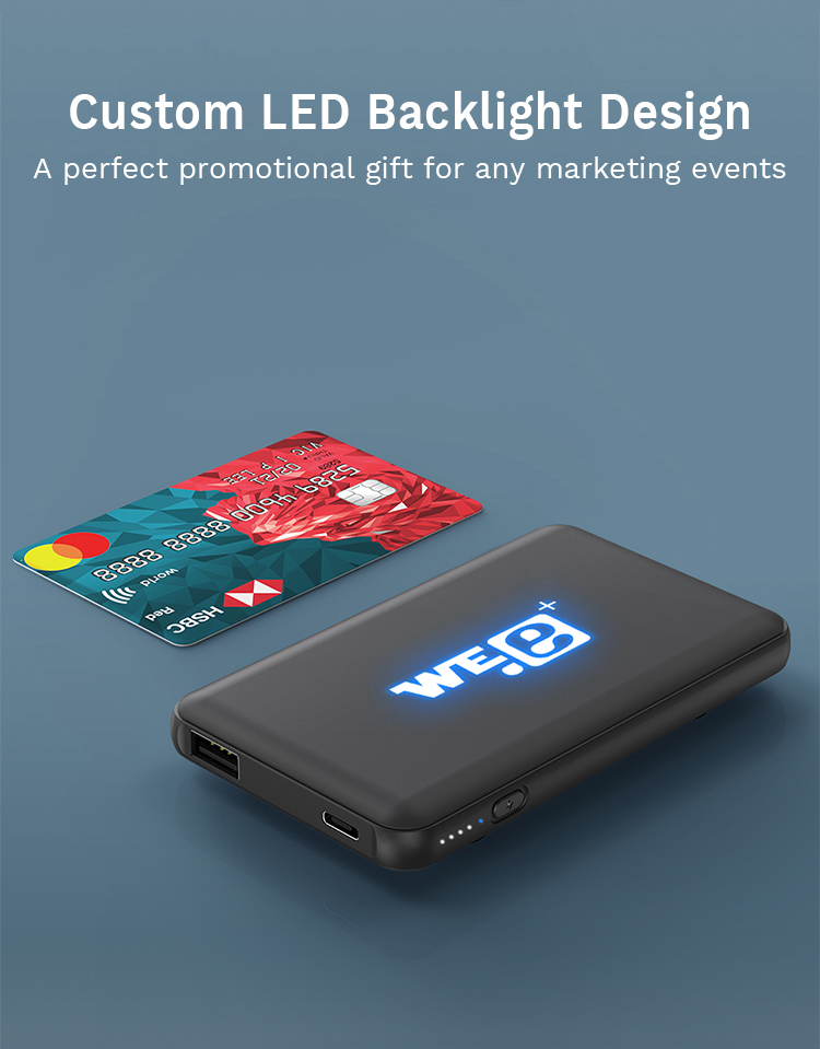 Custom Mini Portable 4000mAh Charging Wireless Power Bank with LED Back Light Logo Suction Cup