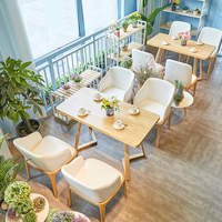 Cafe Furniture Sets Japanese Style Leisure Coffee Shop Western Restaurant Solid Wood Tables and Chairs