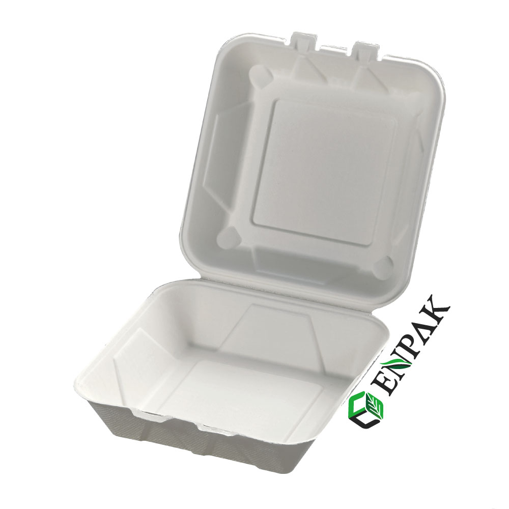 Disposable 9 inch biodegradable bagasse takeout food box bagasse food takeaway box