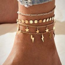 Богемный многослойный браслет на щиколотке с цепочкой, простой Летний Пляжный браслет для женщин, браслет для ног, ювелирные изделия 2020(Китай)