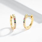 Fashion Hoop Earrings Jewelry 925 Sterling Silver 18k Gold Plated Rainbow Cubic Zircon Huggie Hoop Earrings