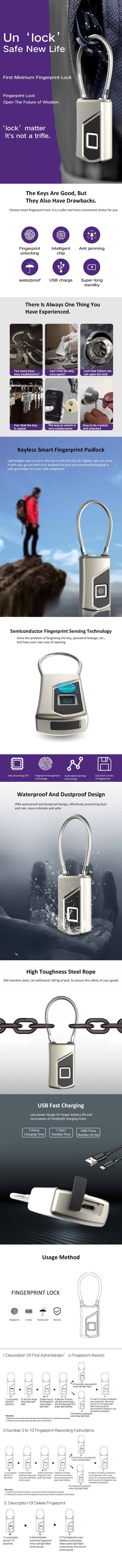 New Arrival Smart USB Charge fashion Lock  IP66 Waterproof Fingerprint padlock