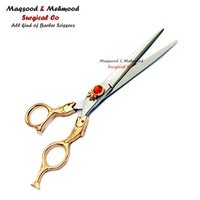 Gold Finish Fish Style Handle professional hair barber scissors customize barber shears